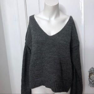 Brandy Melville Sweater One Size Gray Wool VNeck